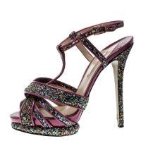 Nicholas Kirkwood Magenta Patent Leather and Glitter T Strap Platform Sandals Size 40