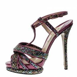 Nicholas Kirkwood Magenta Patent Leather and Glitter T Strap Platform Sandals Size 40 135615