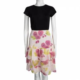 Dior Multicolor Floral Printed Silk Tiered Mini Skirt M 95032