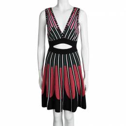 M Missoni Multicolor Knit Cutout Waist and Back Detail Skater Dress S 95036