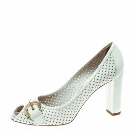 Louis Vuitton White Perforated Leather Buckle Peep Toe Block Heel Pumps Size 39.5 170260