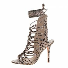 Sophia Webster Beige Leopard Print Leather Lacey Tie Up Sandals Size 39.5 136367