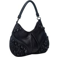 Burberry Black Embellished Leather Hobo Bag