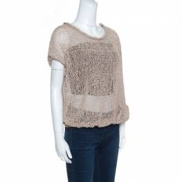 Brunello Cucinelli Brown Faux Suede Open Knit Oversized Top L 156621