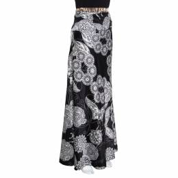 Just Cavalli Black Floral and Butterfly Printed Satin Flared Maxi Skirt M 157205