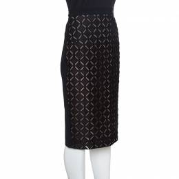 Roland Mouret Black Laser Cut Sitona Pencil Skirt L 153002