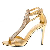 Loriblu Metallic Gold Leather and Suede Crystal Embellished Sandals Size 37.5