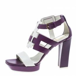 Tod's Purple and White Leather Cutout Platform Sandals Size 40 152434