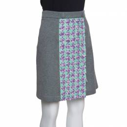 Boutique Moschino Grey Jersey Tweed Panel Detail Skirt L 151841