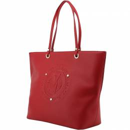 Versace Jeans Red Faux Leather Shopper Tote 153625