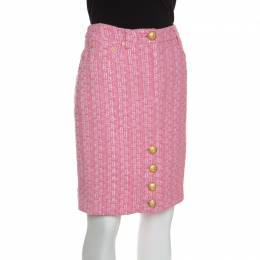 Moschino Couture Pink Raffia and Boucle Tweed Pencil Skirt M 149337