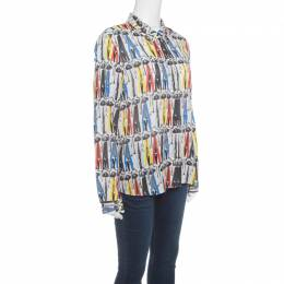 Alice + Olivia Multicolor Willa Printed Silk Long Sleeve Button Front Shirt L 148430