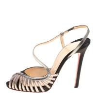 Christian Louboutin Black Satin Scoubridou Asymmetric Mixed Media Sandals Size 37