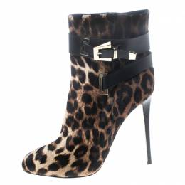 Le Silla Leopard Printed Calf Hair Ankle Boots Size 40 149382