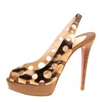 Christian Louboutin Bronze Leather Ginza Platform Slingback Sandals Size 39.5