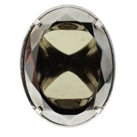 Dior Oval Crystal Silver Tone Oversized Ring Size 57 143900