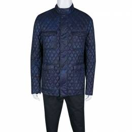 Etro Navy Blue and Black Paisley Print Diamond Quilted Jacket XL 139581