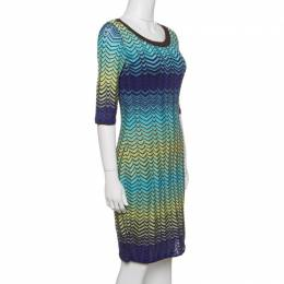 M Missoni Multicolor Wave Pattern Knit Short Sleeves Dress M 141605