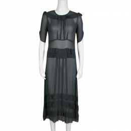 Sonia Rykiel Grey Silk Georgette Ruffle Detail Sheer Midi Dress S 138442