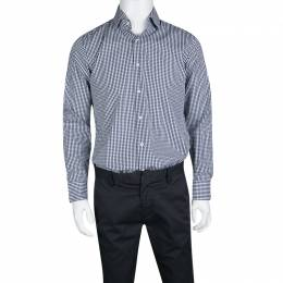 Boss By Hugo Boss Navy Blue and White Checked Cotton Gerald Shirt L 133695