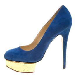 Charlotte Olympia Blue Suede Dolly Platform Pumps Size 41 134461