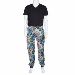 Etro Multicolor Printed Jersey Jogger Pants XL 134396