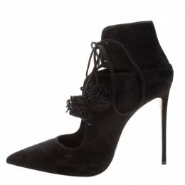 Le Silla Black Suede Lace Up Pointed Toe Ankle Boots Size 39.5 132157