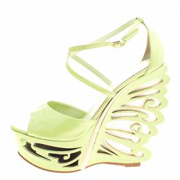 Le Silla Pistachio Green Patent Leather Butterfly Wedge Sandals Size 38 127137