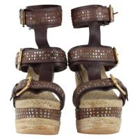Alexander McQueen Brown Studded Leather Ankle Strap Espadrille Wedge Size 37