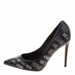 Le Silla Black Crystal Embellished Leather Pointed Toe Pumps Size 38 116012