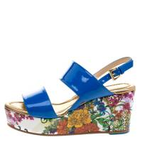 Loriblu Blue Patent Leather Floral Printed Wedge Sandals Size 36