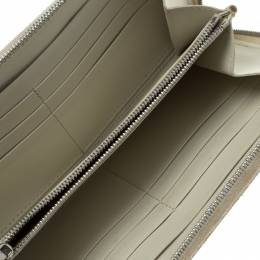 Celine Off White Leather Holographic Zip Up Wallet 95879