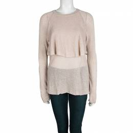 Brunello Cucinelli Beige Sequinned Knit Layered Long Sleeve Sweater L 102814