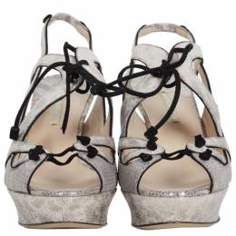 Nicholas Kirkwood Grey Karung Leather and Suede Lace Up Platform Sandals Size 40 78304