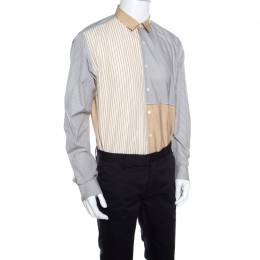 Salvatore Ferragamo Grey and Mustard Multi Stripe Paneled Cotton Shirt XL 160288