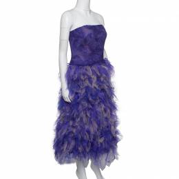 Tadashi Shoji Purple and Begie Tulle Embroidered Faux Feather Strapless Dress S 159783