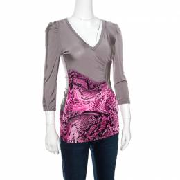 Just Cavalli Grey and Pink Animal Printed Ruched Long Sleeve Top S 160842