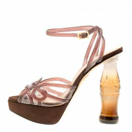 Charlotte Olympia Brown Jelly Soda Cola Heel Ankle Wrap Platform Sandals Size 39 160854