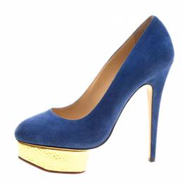 Charlotte Olympia Blue Suede Dolly Platform Pumps Size 39.5 126284