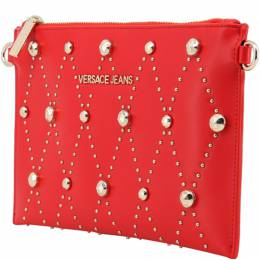 Versace Jeans Red Faux Leather Studded Clutch Bag 161914