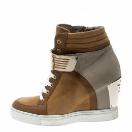 Le Silla Brown/Grey Leather In Chipow High Top Wedge Sneakers Size 37 162401