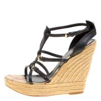 Burberry Black Leather Espadrille Wedge Sandals Size 39