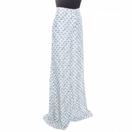 Peter Pilotto White and Blue Floral Printed Wide Leg Pants M 163643