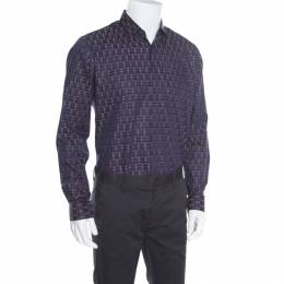 Salvatore Ferragamo Navy Blue Cotton Jacquard Long Sleeve Shirt L 163790