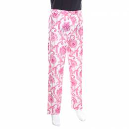 Etro White and Pink Paisley and Floral Printed Linen Mexico Trousers XXL 163765