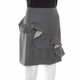 Boutique Moschino Monochrome Micro Jacquard Wool Ruffled Skirt L 164559