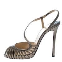 Christian Louboutin Metallic Bronze Leather Scoubridou Asymmetric Peep Toe Sandals Size 37