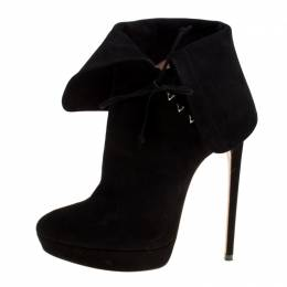 Alaia Black Suede Ankle Cuff Side Lace Up Ankle Boots Size 40 166241