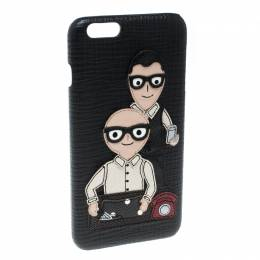 Dolce& Gabbana Black Leather Father and Son Patch Iphone 6+ Case Dolce & Gabbana 166437