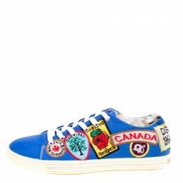 Dsquared2 Blue Canvas Embroidered Patch Low Top Sneakers Size 40 166429